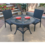 """Caribbean Resin Wicker Bistro Dining  Set 36"""" Round  (2-Side Chairs) - BLACK"""