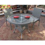 """Caribbean Resin Wicker Bistro Dining  Set 36"""" Round  (2-Side Chairs) - DRIFTWOOD"""