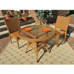 "Caribbean Resin Wicker Bistro Dining  Set 36"" Round  (2-Side Chairs) - GOLDEN HONEY"
