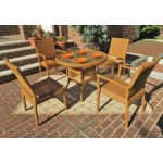 """Caribbean Resin Wicker Bistro Dining Set 36"""" Round (2-Arm 2-Side Chairs) - GOLDEN HONEY"""