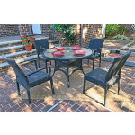 Caribbean Resin Wicker  Dining Set 48' Round 4 Chairs - BLACK