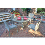 Caribbean Resin Wicker  Dining Set 48' Round 4 Chairs - DRIFTWOOD