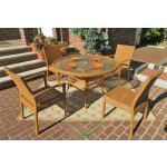 Caribbean Resin Wicker  Dining Set 48' Round 4 Chairs - GOLDEN HONEY