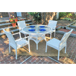 Caribbean Resin Wicker  Dining Set 48' Round 4 Chairs - WHITE