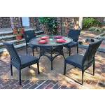 Caribbean Resin Wicker Dining Set (4-Side Chairs) 48' Round - BLACK