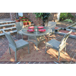 Caribbean Resin Wicker Dining Set (4-Side Chairs) 48' Round - DRIFTWOOD