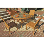 Caribbean Resin Wicker Dining Set (4-Side Chairs) 48' Round - GOLDEN HONEY