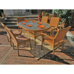 """Caribbean Resin Wicker Dining Set 72"""" Oval 6 Chairs - GOLDEN HONEY"""