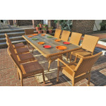 "Caribbean Resin Wicker Dining Set 96"" Rectangular 10 Chairs - GOLDEN HONEY"