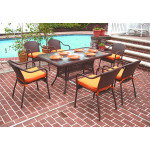 60x36 Rectangular Dining Set with 6-Cushioned Bistro Chairs - ANTIQUE BROWN