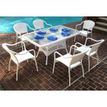 60 x 36 Rectangular Dining Set with 6-Bistro Chairs - WHITE