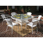 "Resin Wicker Dining Set 60"" Round - WHITE"