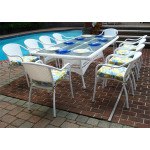 96x42 Rectangular Resin Wicker Dining Set With Cushions - WHITE