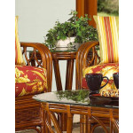 Coconut Beach Round Rattan End Table  - MAHOGANY