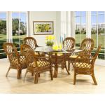 7 Piece Coconut Beachl Rattan Oval Dining Set - MAHOGANY