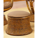 South Beach Round Ottoman with Cushion - ROYAL OAK AND ESPRESSO