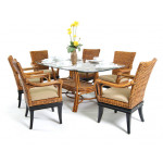 7 Pc South Beach Rattan Dining Set 72' Oval - ROYAL OAK AND ESPRESSO