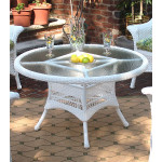 "42"" Round  X 24"" High Resin Wicker Conversation Table with umbrella hole - WHITE"