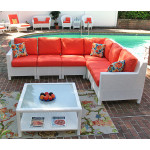 6 Piece Resin Wicker Sectional, Caribbean - WHITE