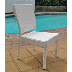 Caribbean Resin Wicker Dining Side Chair, Minimum 2 - WHITE