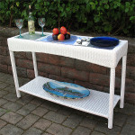 Caribbean Resin Wicker Serving Console Table  - White/ Frosted Glass