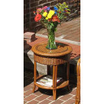 Tangiers Round Wicker End Table with Glass Top - TEAWASH