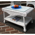 Diamond Natural Wicker Coffee Table with Glass Top - WHITE