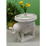 Wicker Elephant Table - WHITE