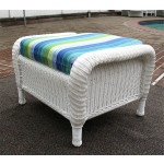 Laguna Beach Resin Wicker Ottoman  - WHITE