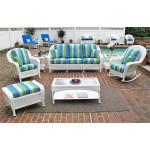 6 Piece Laguna Beach Resin Wicker with Sofa, Chair, Rocker, Otto & 2 Tables - WHITE