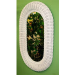 """Large Oval Wicker Mirror 29"""" high - WHITE"""