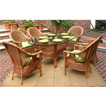7 Piece Monterey Oval  Wicker Dining Set  -