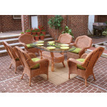 """7 Piece Naples Natural Wicker Dining Set 72"""" Oval - TEAWASH"""