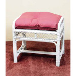 Savannah Wicker Bench/Ottoman - WHITE