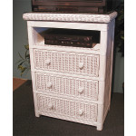 Pavilion 3-Drawer Swivel Top Wicker TV. Stand - WHITE