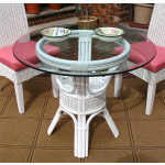 Pole Rattan 36 Bistro Table with Glass Top - WHITE