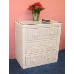 Traditional 3 Draw Wicker Bedroom Dresser Chest - WHITE