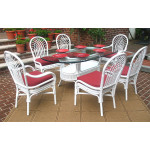 "Natural Rattan Oval Dining Set Savannah 72"" Oval - WHITE"