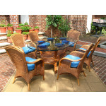 7 Piece Santa Fe Oval Wicker Dining Set  - TEAWASH