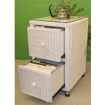 Wicker File Cabinet 2 Drawers - WHITE