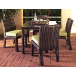 5 Piece St Croix Outdoor Resin Wicker Dining Set - TOBACCO