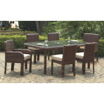 7 Piece St Croix Outdoor Resin Wicker Dining Set - TOBACCO