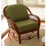 Tahiti Natural Rattan Wicker Chair  - WALNUT