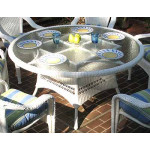 """Resin Wicker Dining Table 60"""" Round  - WHITE"""