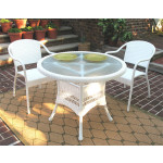 "Resin WIcker Dining Set 36"" Round, - WHITE"