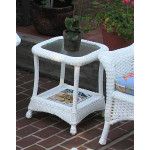 Veranda Resin Wicker End Table With Inset Glass Top - WHITE