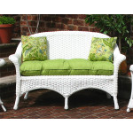 Veranda Resin Wicker Loveseat With Seat Cushion - WHITE-SP3541