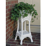 Resin Wicker Plant Stand Square with Galvanize Tin - WHITE