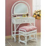Wicker Vanity With Mirror Bench And Glass Top - WHITE