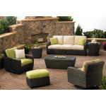(7) Piece Leeward Synthetic Wicker Seating Group - GODIVA BROWN